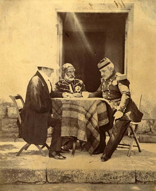 Council of War held at Lord Raglan's Head Quarters, the morning of the successful attack on the Mamelon. Lord Raglan, Maréchal Pélissier, & Omar Pacha.