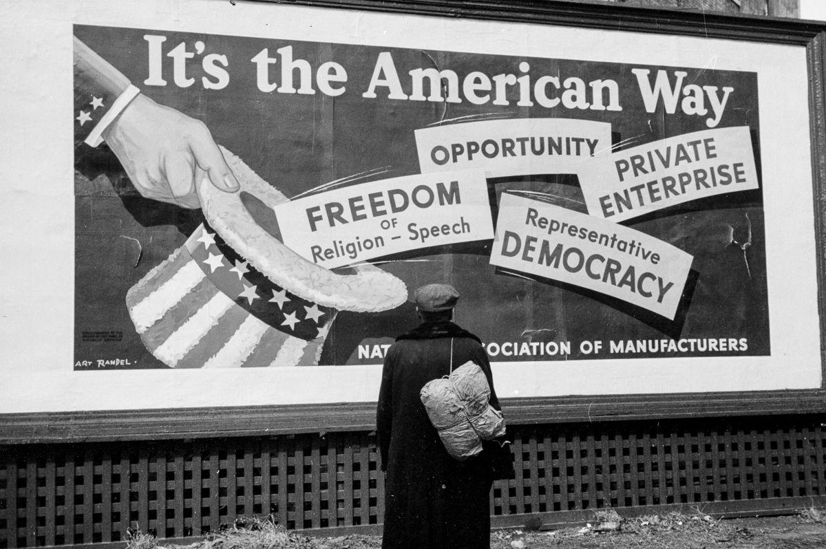American way billboard  in Dubuque, Iowa