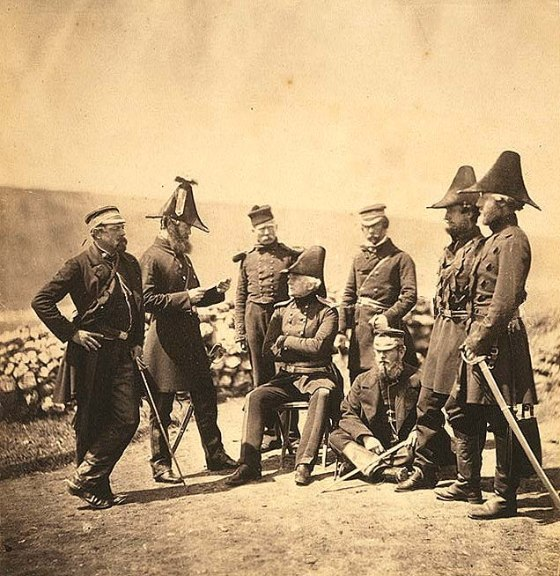 Lieutenant General Sir George Brown G.C.B. & officers of his Light Division staff Major Hallewell, Colonel Brownrigg, orderly, Colonel Airey, Captain Pearson, Captain Markham, Captain Ponsonby.