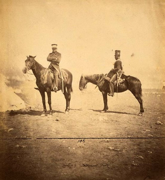 Lieutenant General Sir John L. Pennefather & orderly in uniform of 4th Light Dragoons.