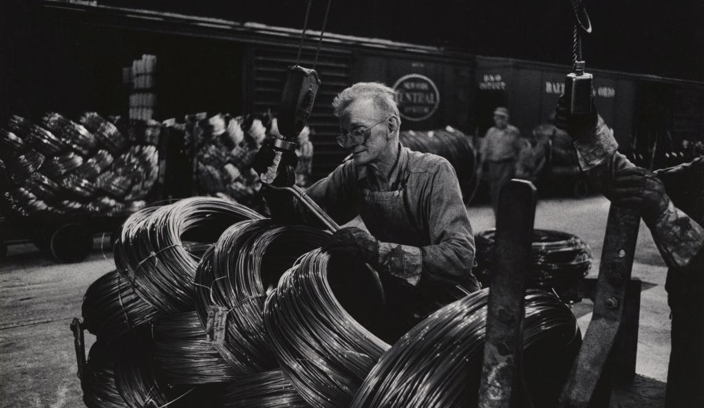 Mill Man Loading Coiled Steel, 1955