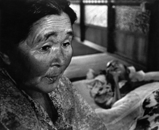 Mrs Hayashida with her dying husband. They both suffer from mercury poisoning.
