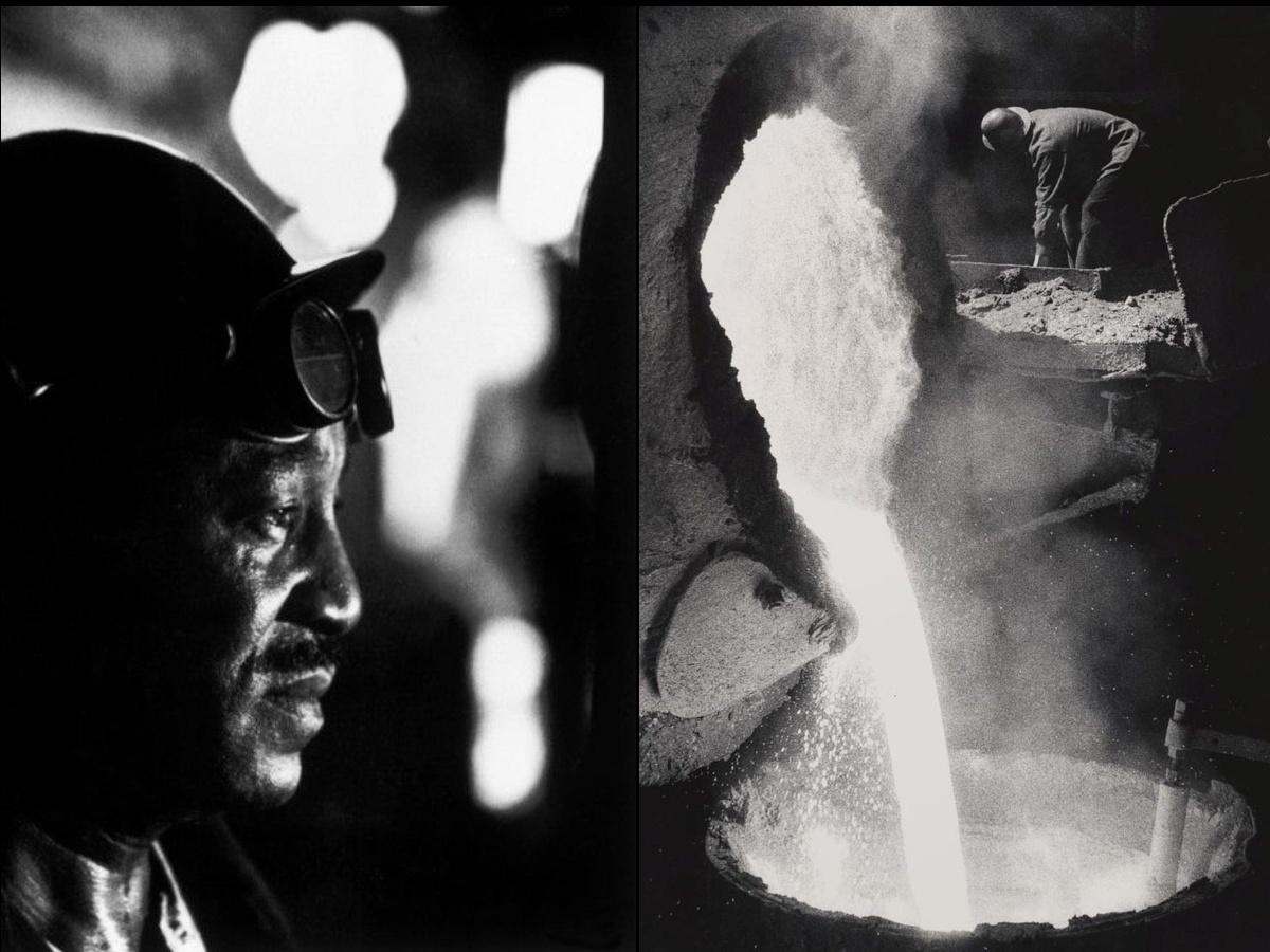 steel worker and molten steel