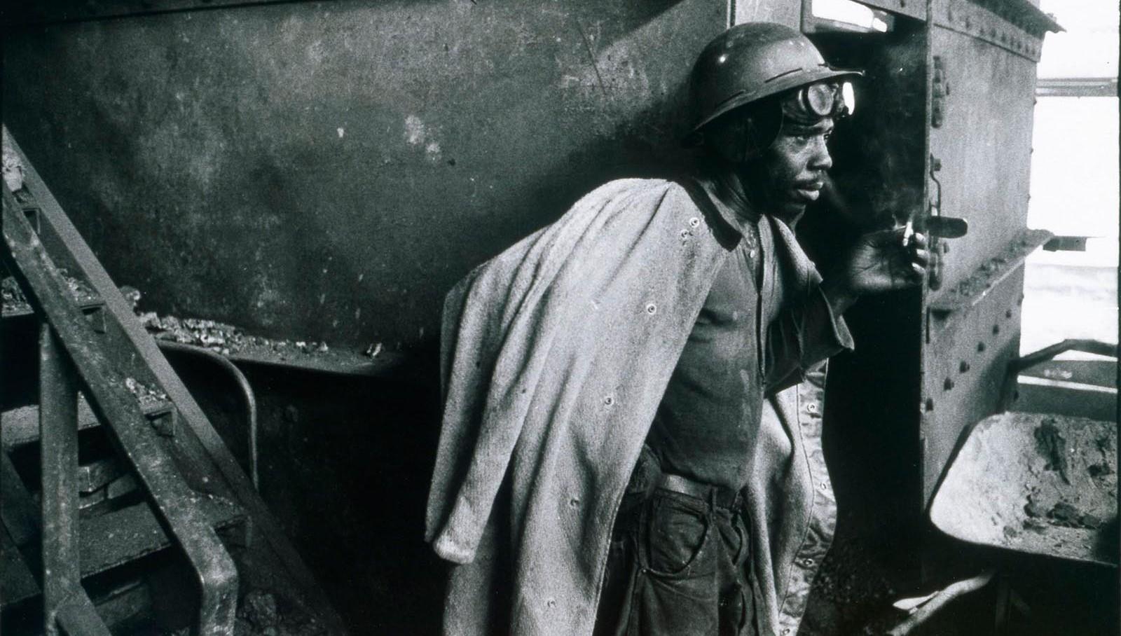 Smoking steelworker