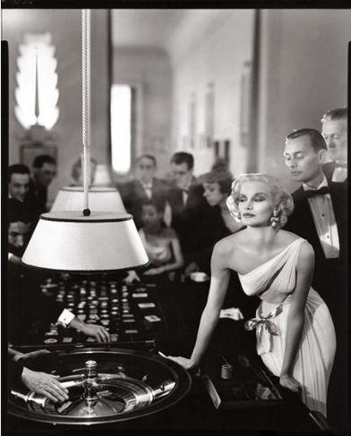 Sunny Harnett, evening dress by Gres, Casino, Le Touquet, Paris, August 1954.