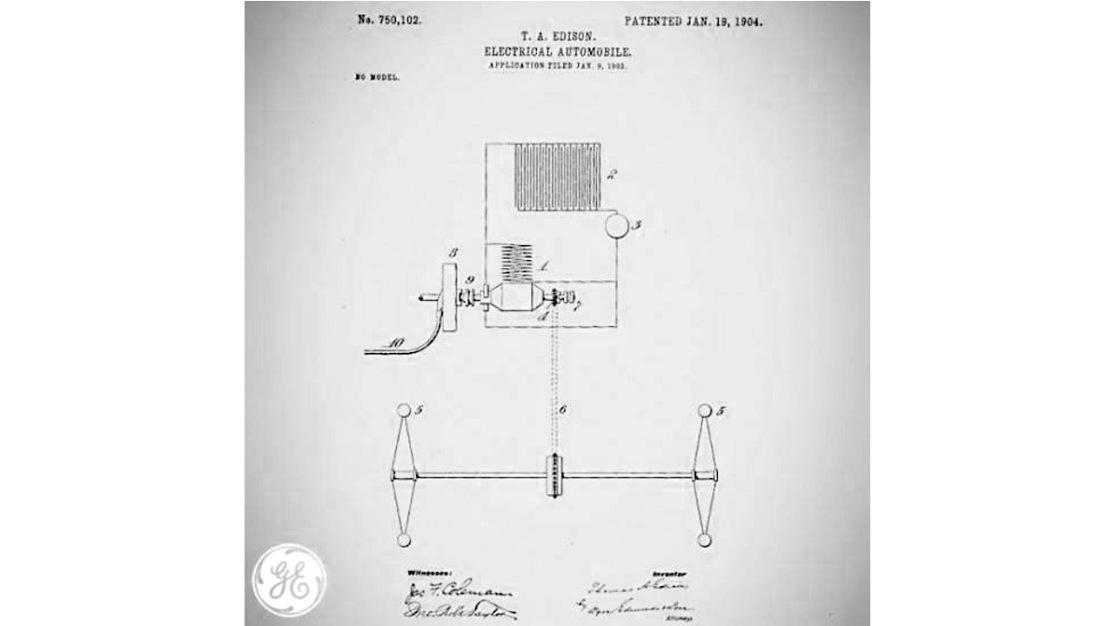 Electric car Edison patent