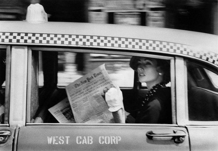Woman in a cab, NYC