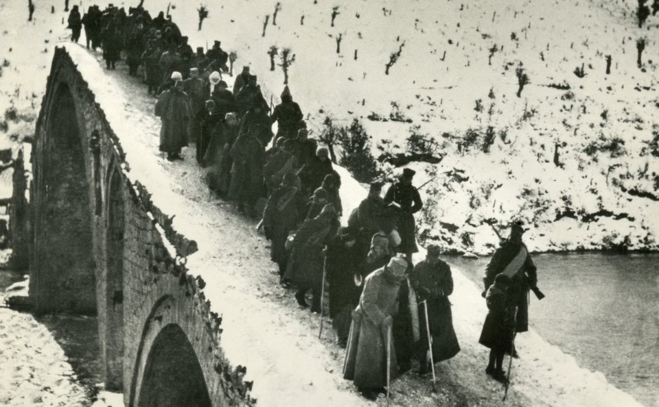 71-year-old Peter, King of Serbia, crossing the Drim river during the retreat of the Serbian Army in December 1915