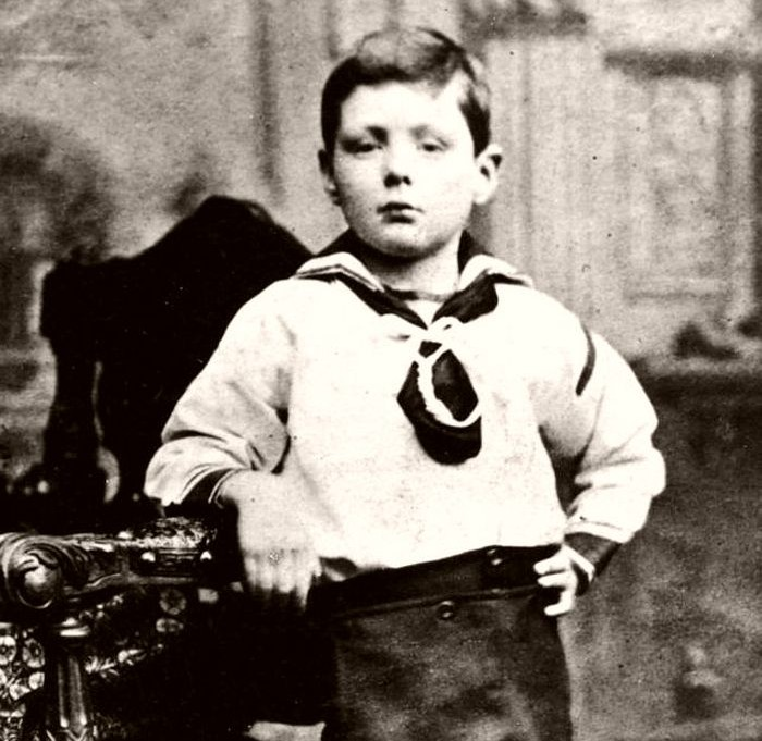 A portrait photo of Young Winston Churchill in 1881