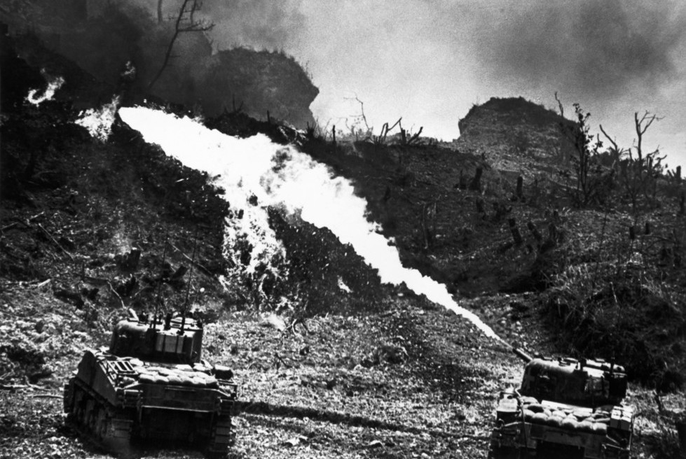 Battle of Okinawa. US flame throwers used to dislodge the Japanese from thier bunkers