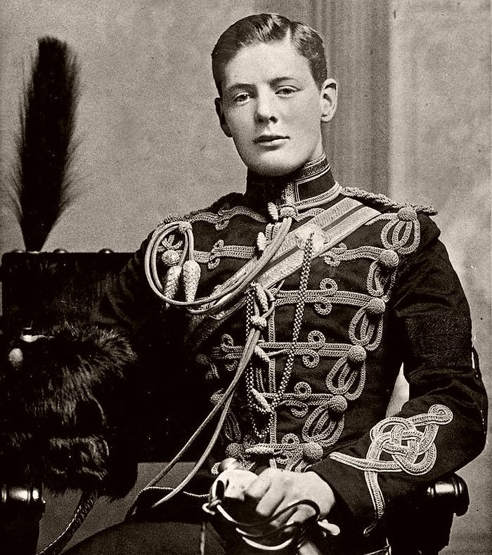 Churchill in the military dress uniform of the Fourth Queen's Own Hussars at Aldershot in 1895.