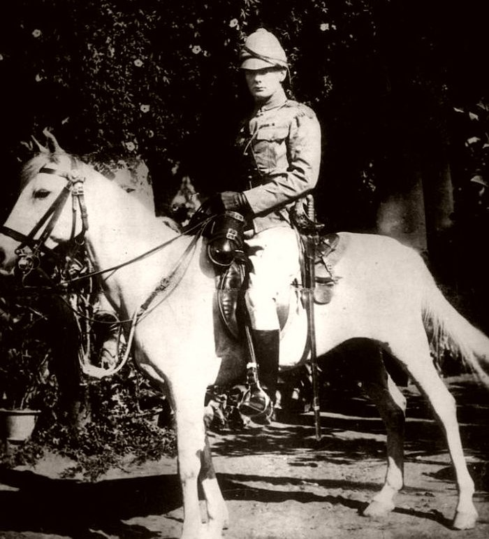 Churchill on horseback in Bangalore, India, 1897.