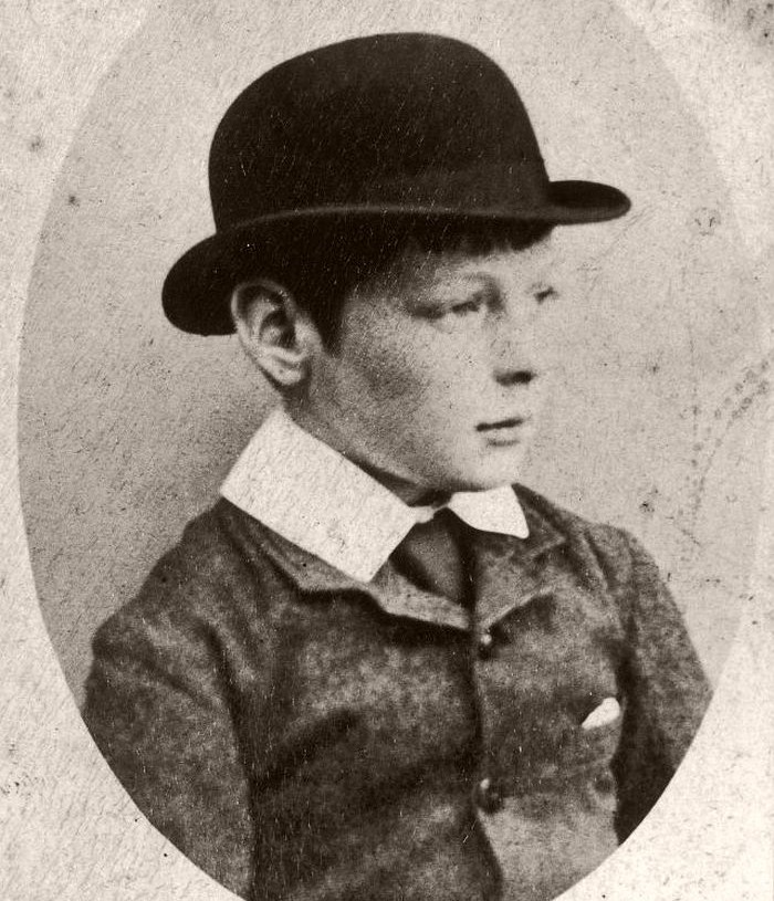 Winston Churchill wearing a hat, at age of 7