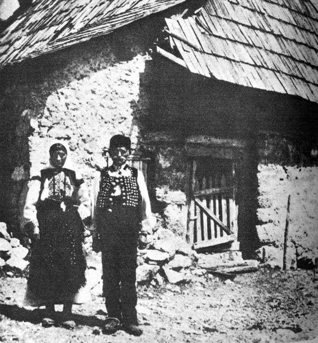 Gavrilo Princip's parents if front of their house, early 1900s