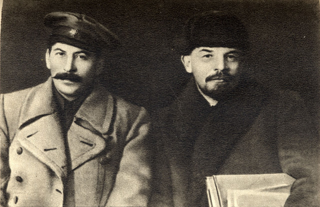 Joseph Stalin and Vladimir Lenin during the VIII Congress of the Party, 1919