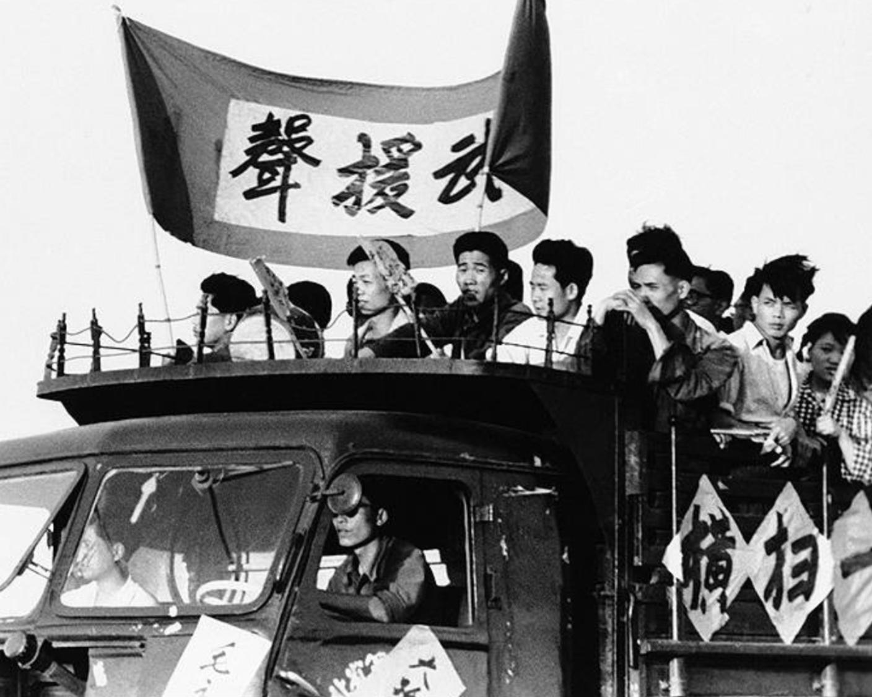 Mao supporters in a propaganda truck