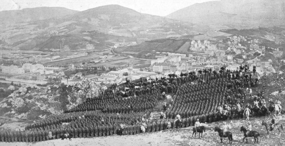 Mobilized Austro-Hungarian troops sent across Sarajevo for Serbia, 1914.