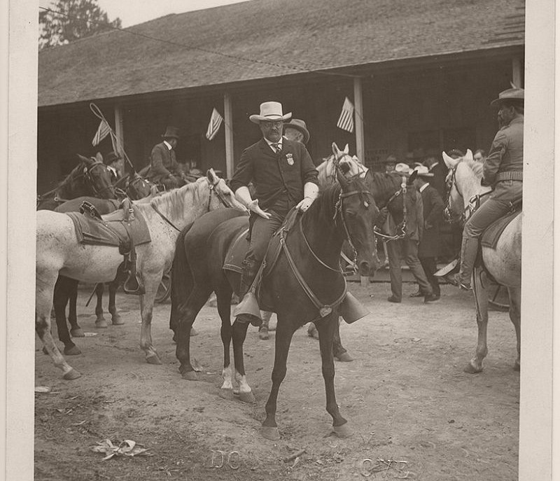 President Roosevelt on horseback, preparing to survey the battlefield on which the Battle of Chickamauga took place. Chickamauga
