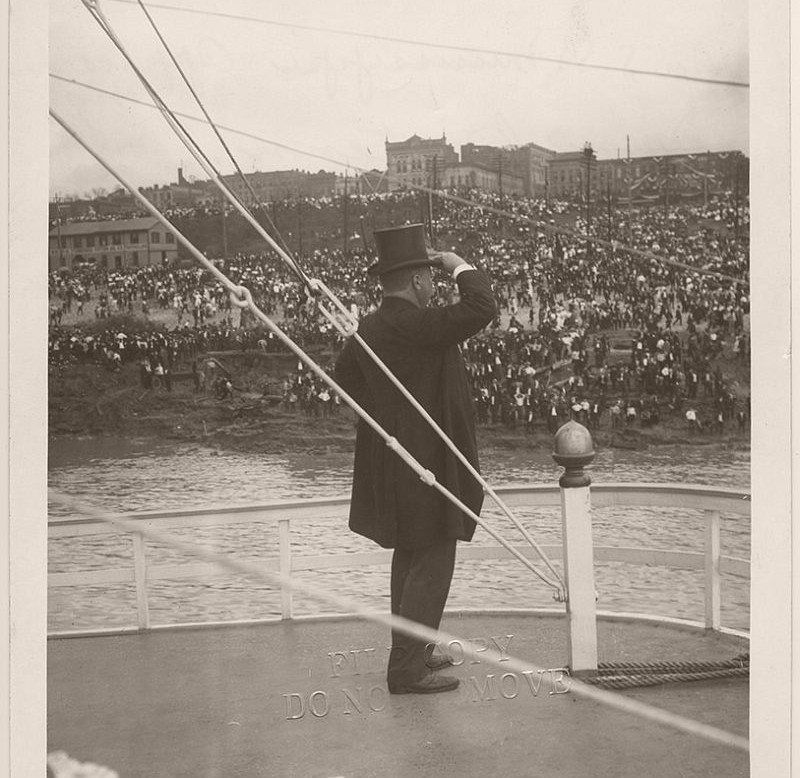 President Theodore Roosevelt on the deck of the USS Mississippi, approaching Memphis, Tennessee. On October 4, 1907, President Theodore Roosevelt made a speech in Memphis on the development of the waterways.