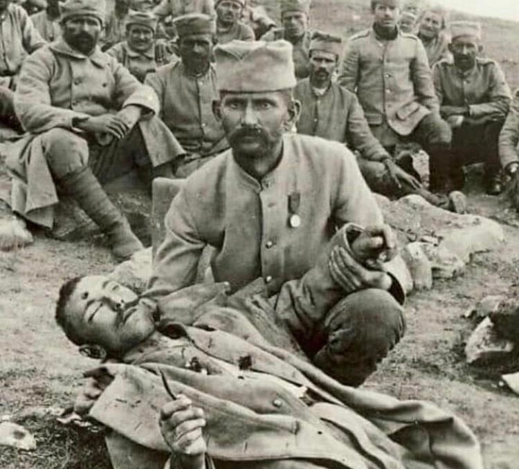 Serbian soldier holding his dead brother. Battle of Kaymakchalan, Serbia 12.09.1916 WWI