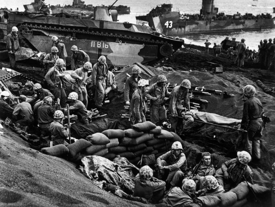 The Battle of Iwo Jima. US forces landing on the beach.