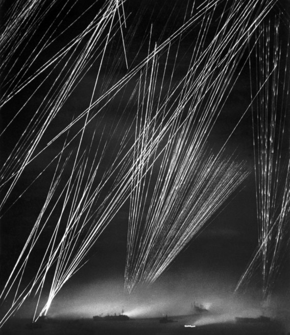 The Battle of Okinawa. US anti-aerial artillery highlight the Japanese aircrafts.