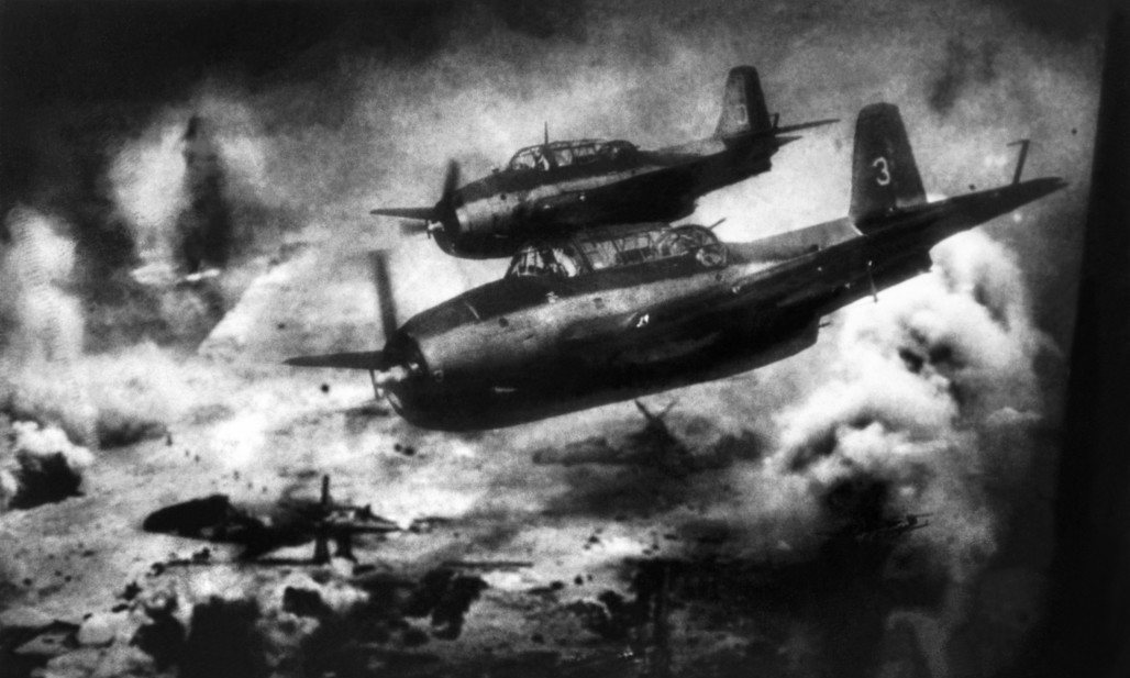 The Battle of Saipan. Anenger fighter bombers moving towards the Saipan Island to attack the Japanese.