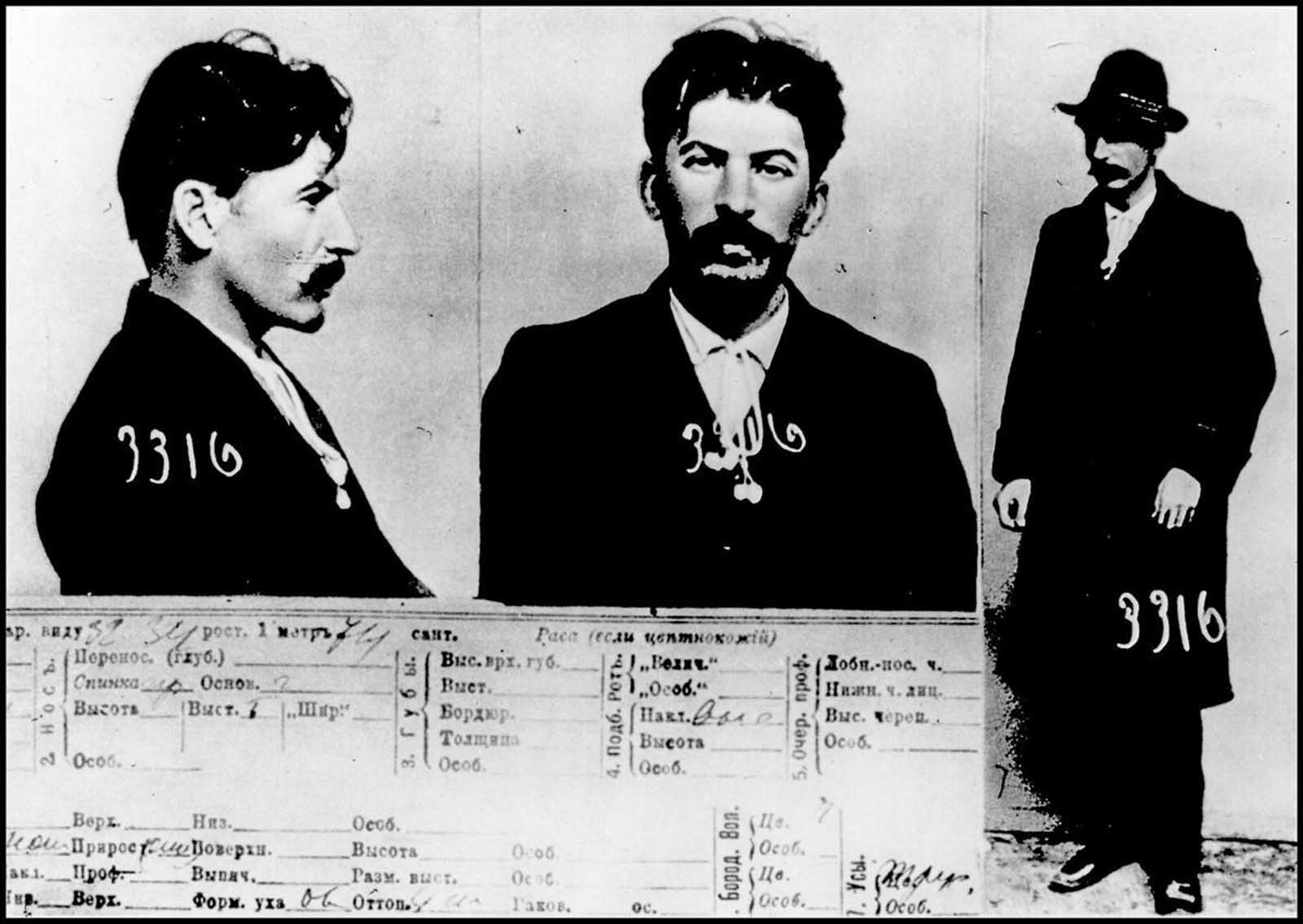"The information card on ""I. V. Stalin"", from the files of the Imperial police in Saint Petersburg, 1911"