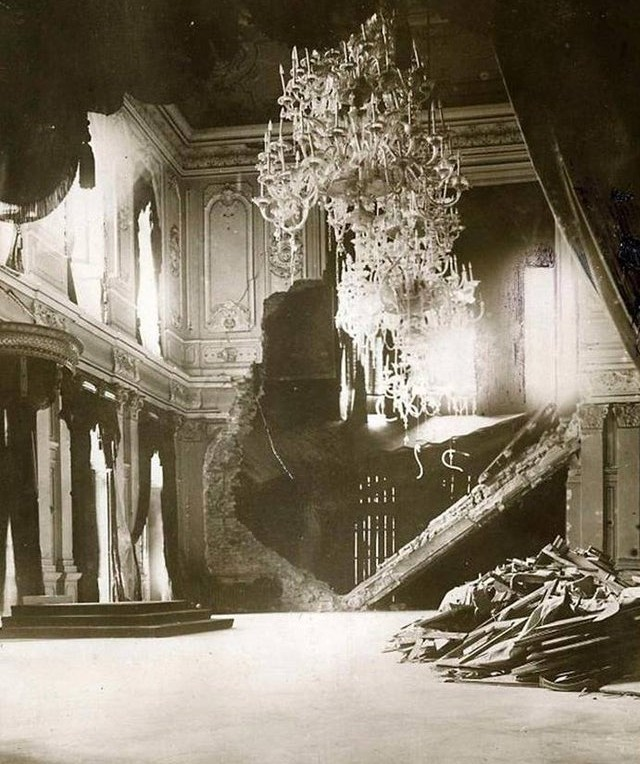 Throne room in the Royal Palace in Belgrade, Kingdom of Serbia, October 1915