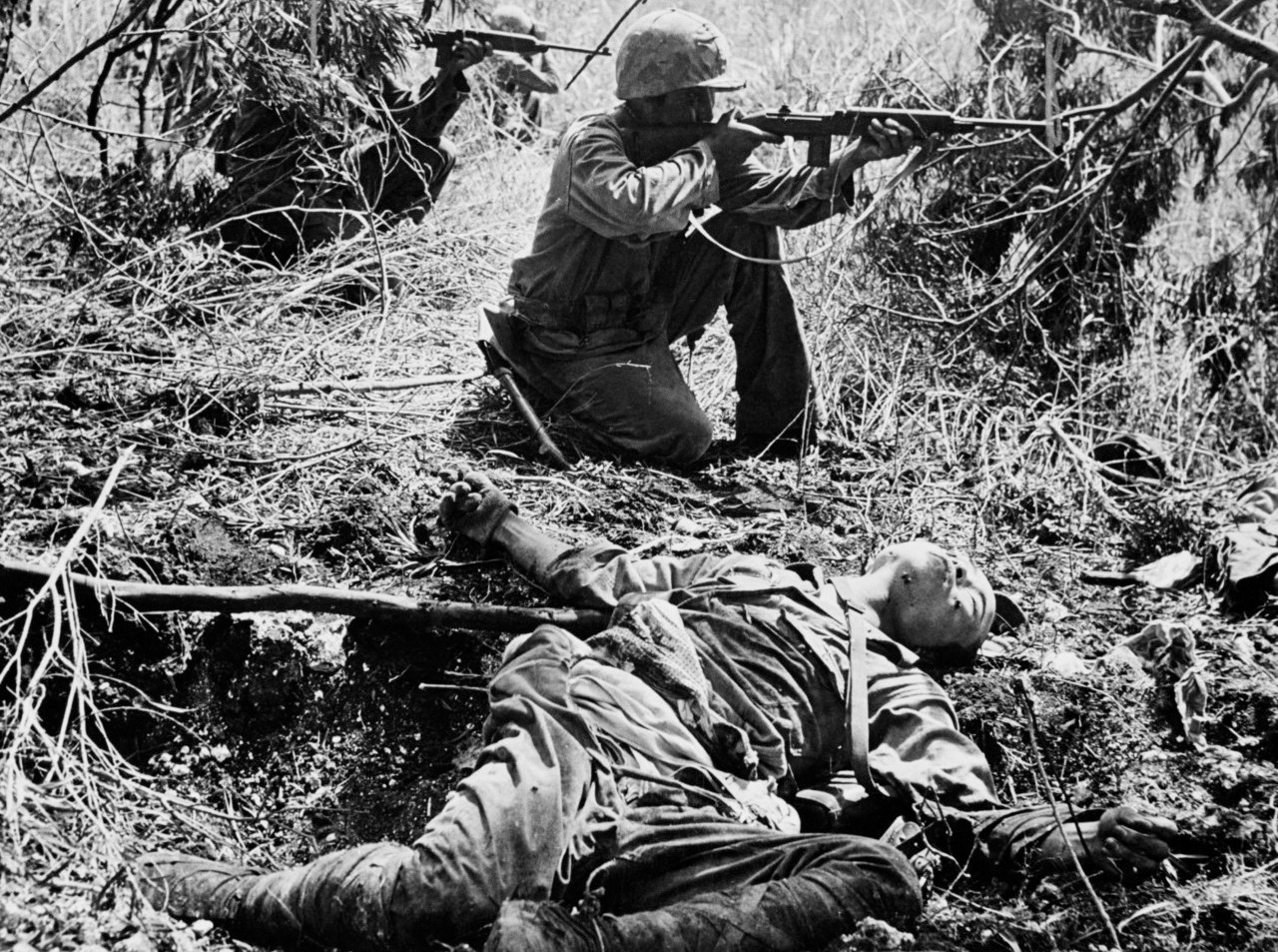 US marine during the close battle, during the Battle of Saipan Island