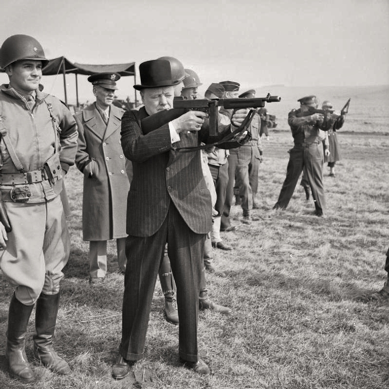 Churchill liked to pose with weapons