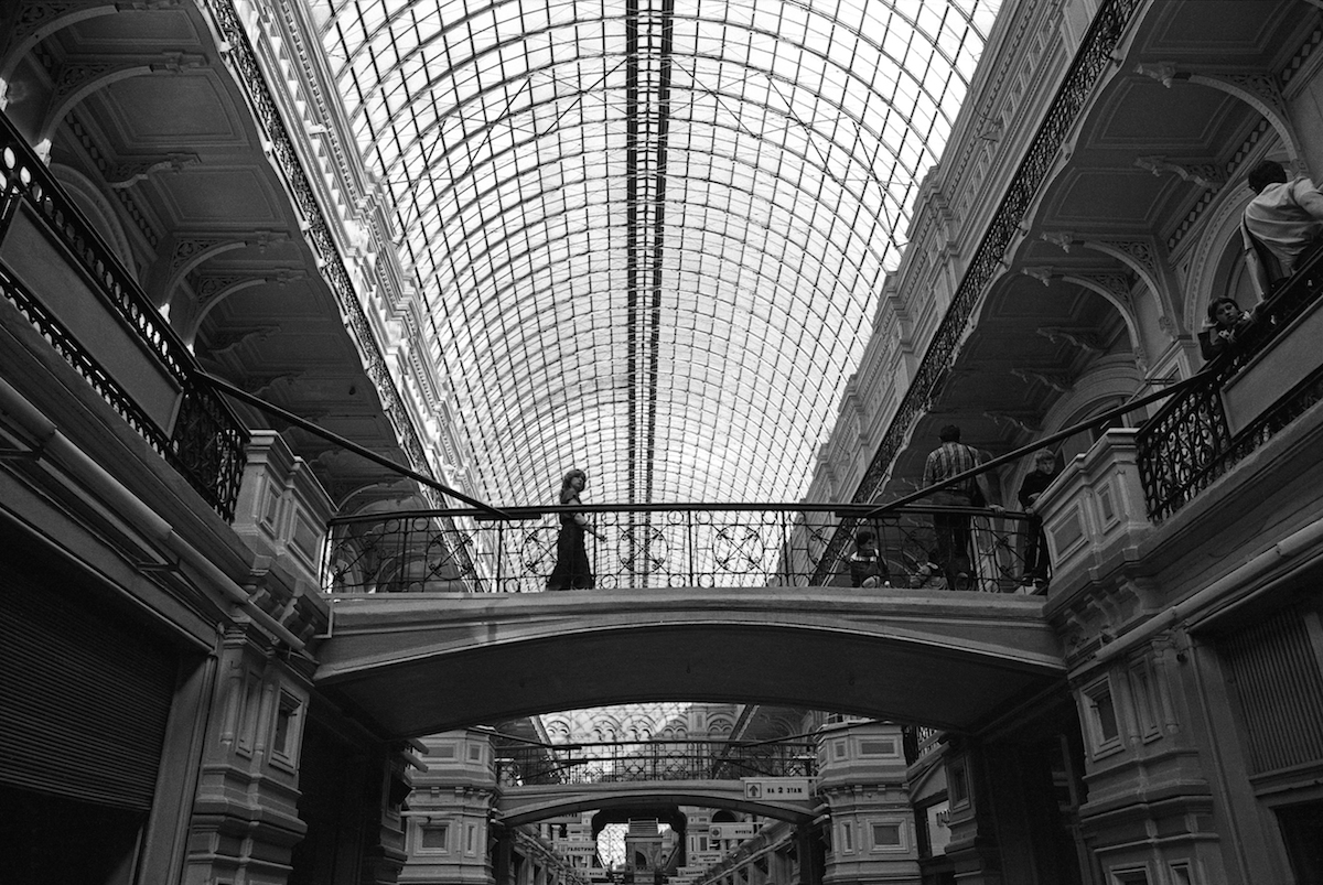A magnificent building of the Central Store of Soviet Moscow. It's something similar to nowadays shopping malls.