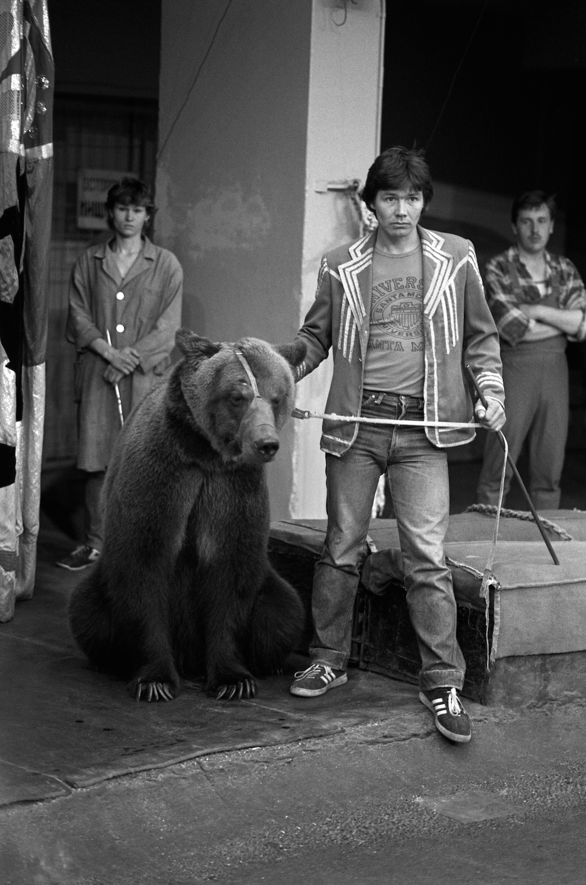 A man with a bear at the Soviet Moscow street. It was a decent attraction in the late 1980s.