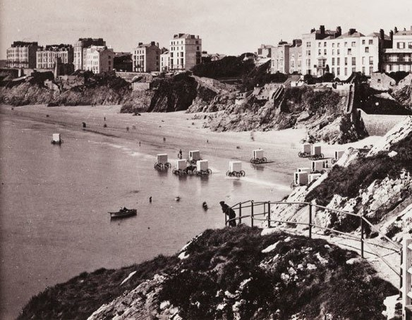 A view of the town of Tenby in Pembrokeshire, Wales taken from St. Katherine's Rock.