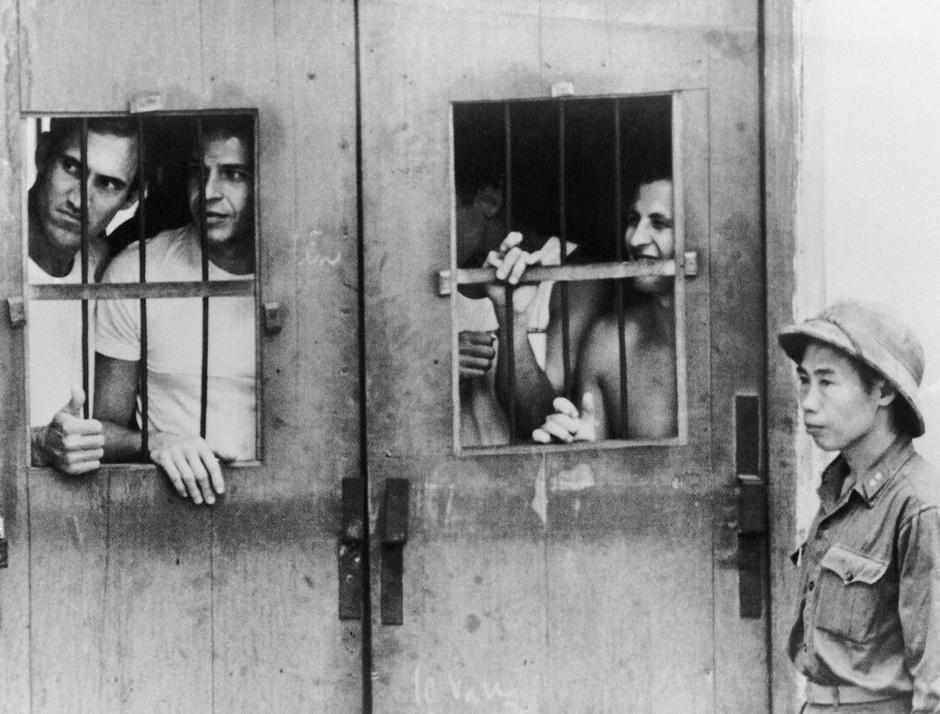 American POWs at Li Nam De Street camp in Hanoi, North Vietnam, March 1973.