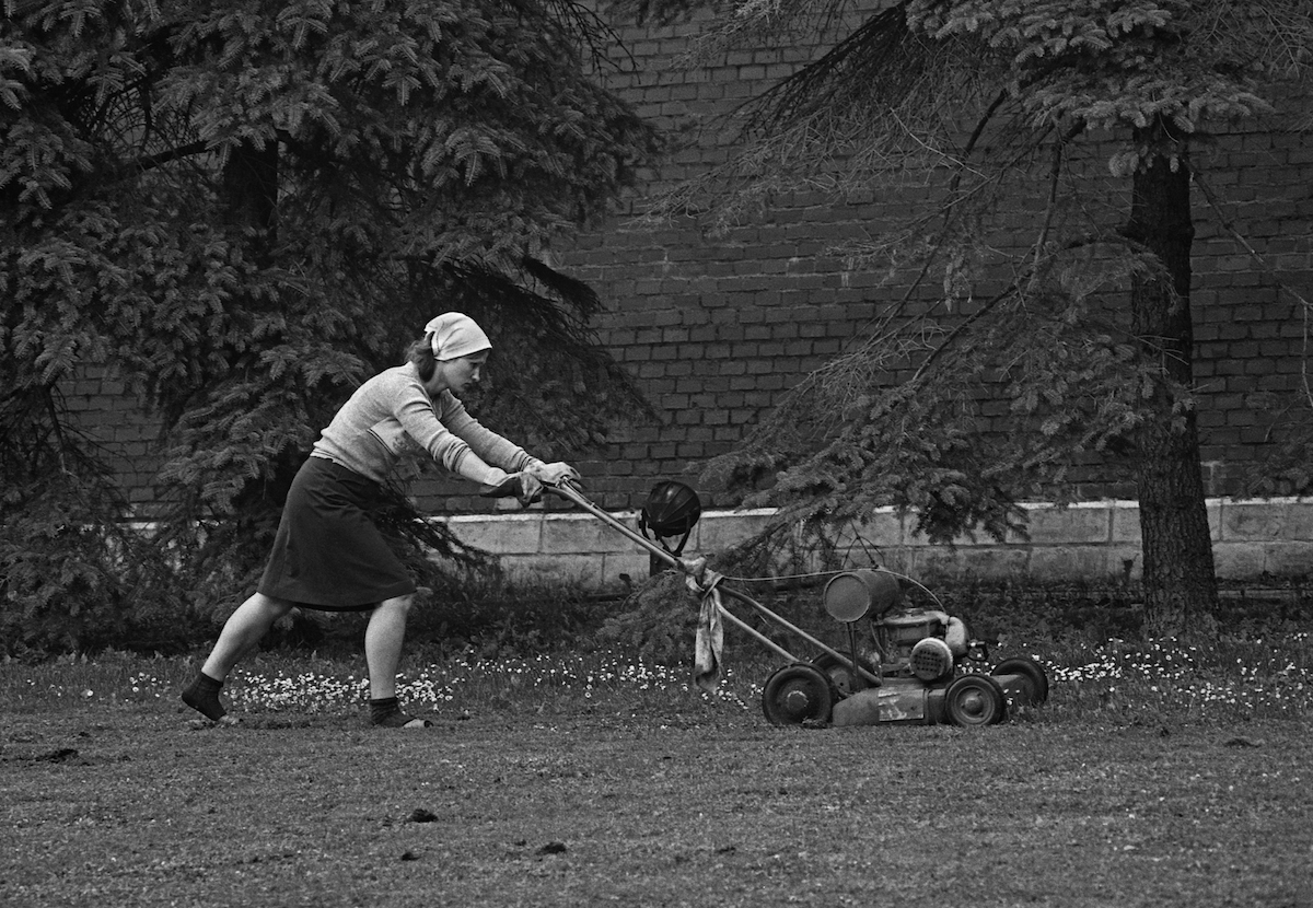 Lawnmower in Soviet Moscow