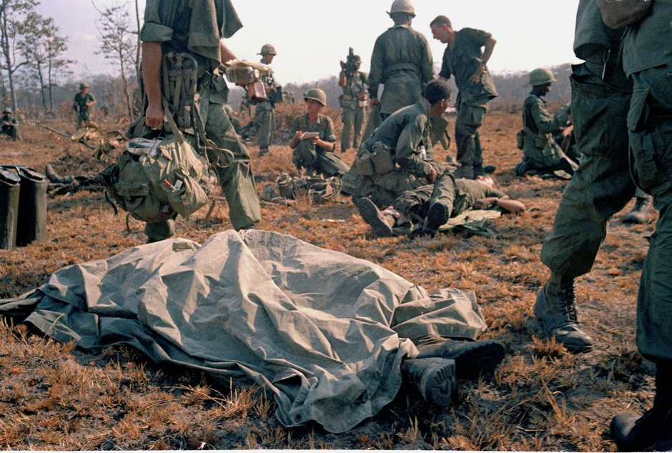 The body of a killed American soldier on the battlefield in Vietnam
