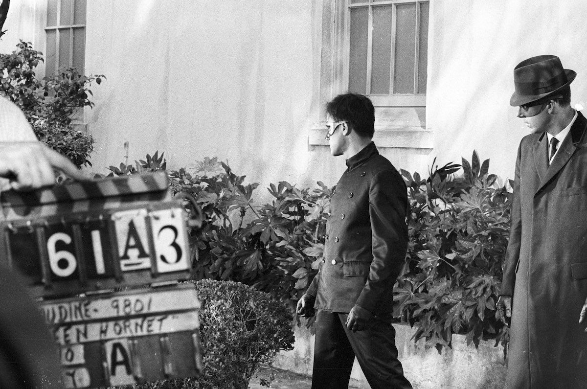 Bruce Lee behind the scenes during filming of the Batman.