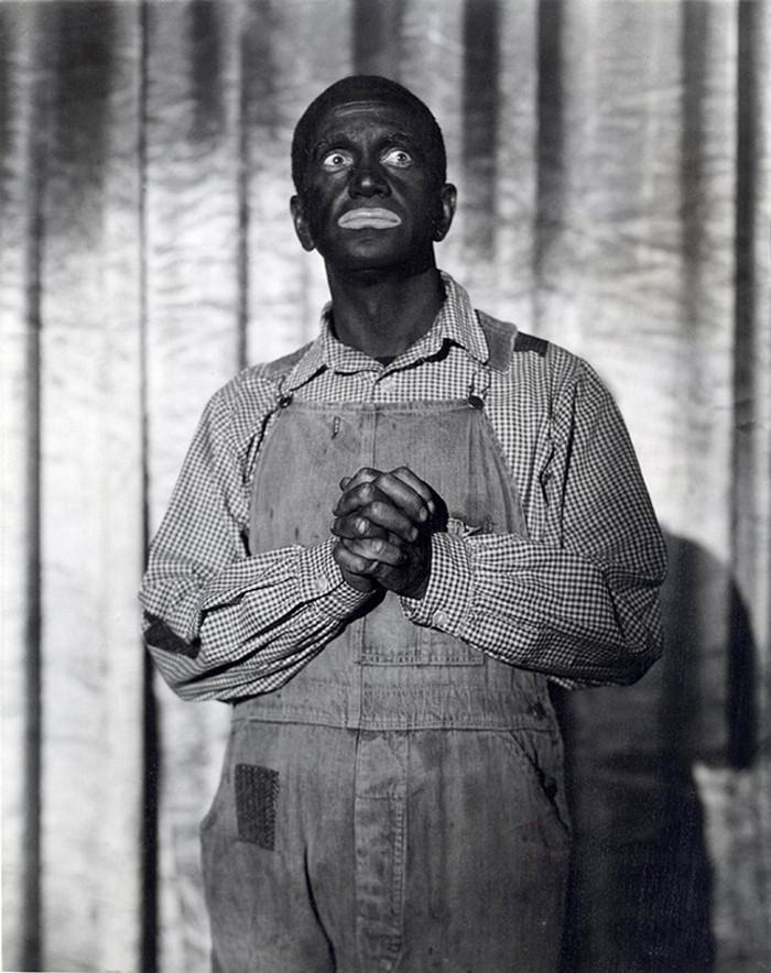 American singer Al Johnson, portraying a black man on the set of the movie Bar of Wonders. 1934 year