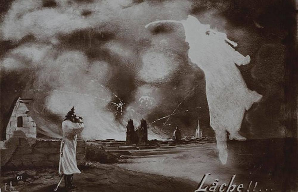 A WWI postcard. A German looking at Notre Dame through binoculars is threatened with a saber by the ghost of Napoleon.