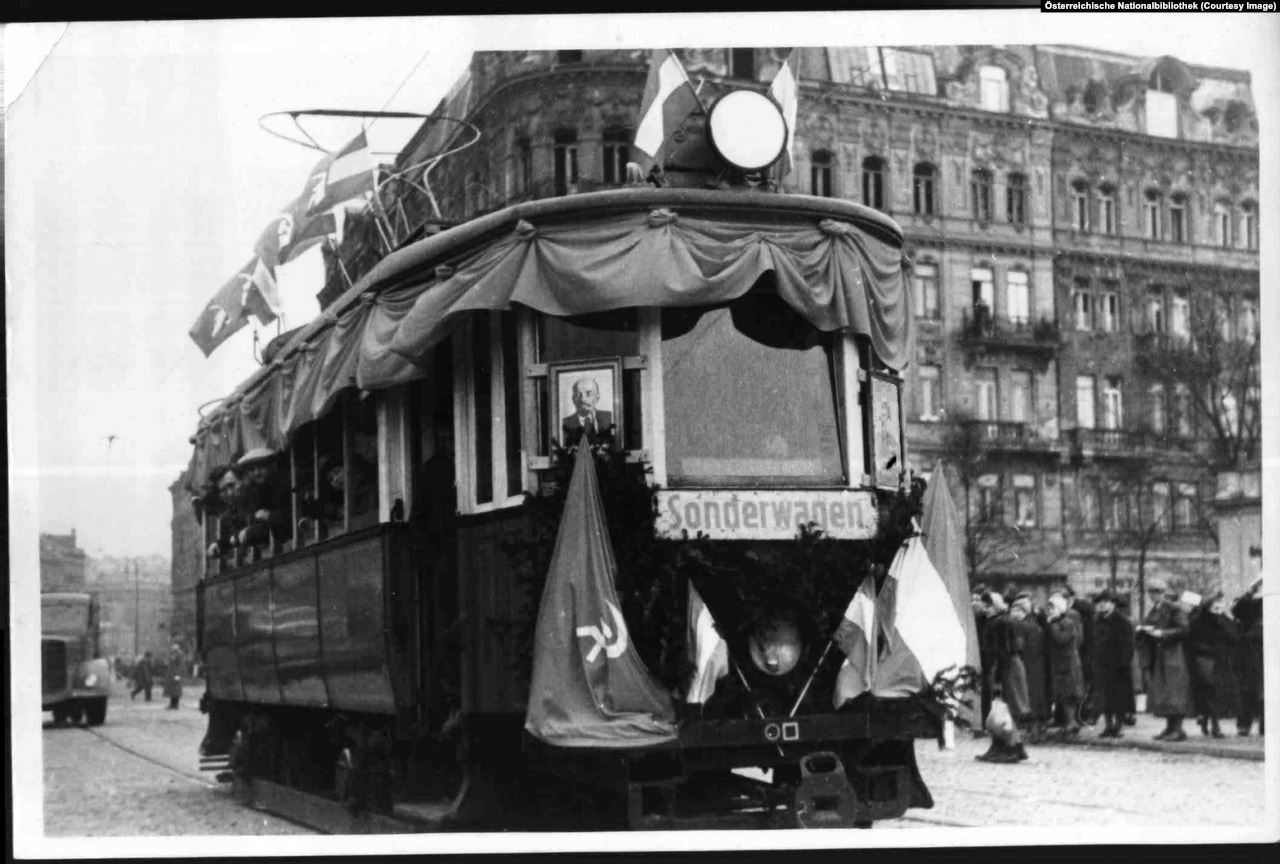 A tram with picture of Lenin. It supposed to convert austrians to socialism