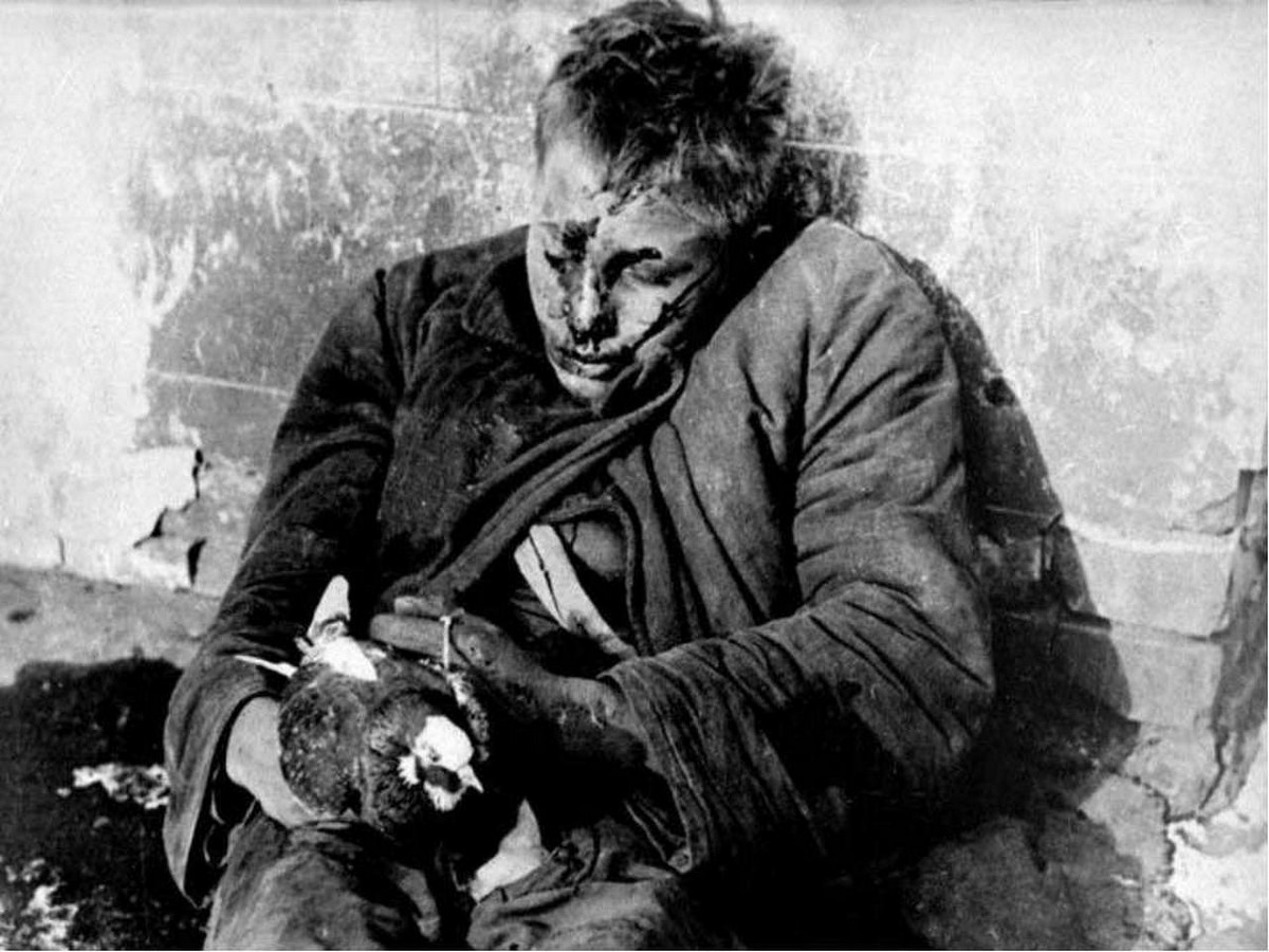 A wounded soviet soldier with a pigeon