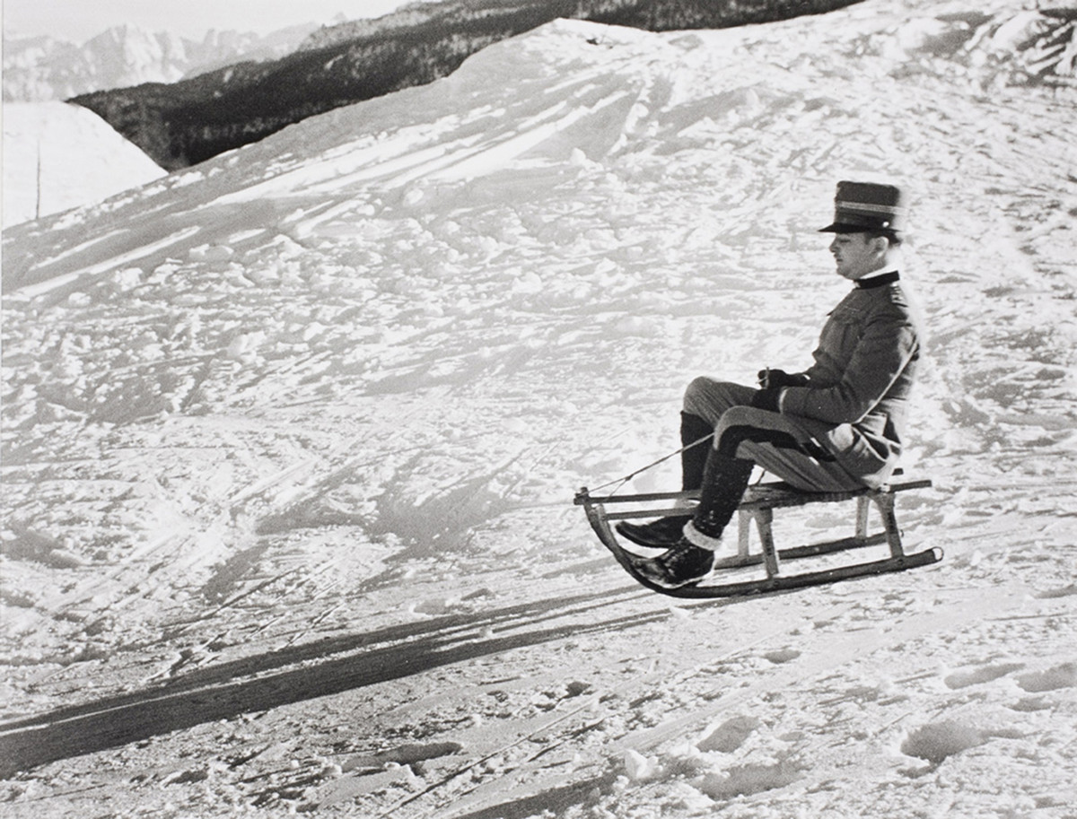 An Italian officer sledges in Sestriere, Italian Alps, 1934.
