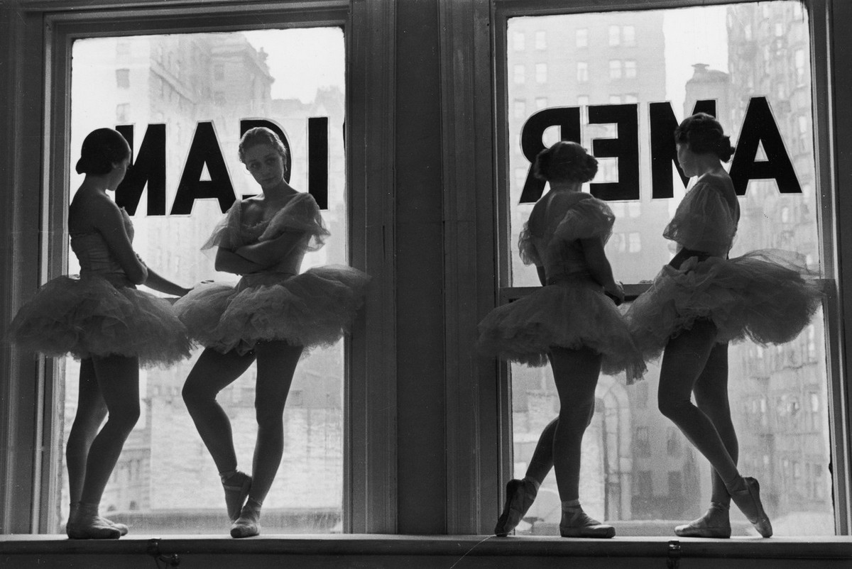 Ballerinas in the rehearsal room of the George Balanchine Ballet School, 1936.