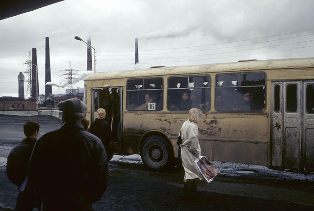 Bus stop in the city of Norilsk, 1993