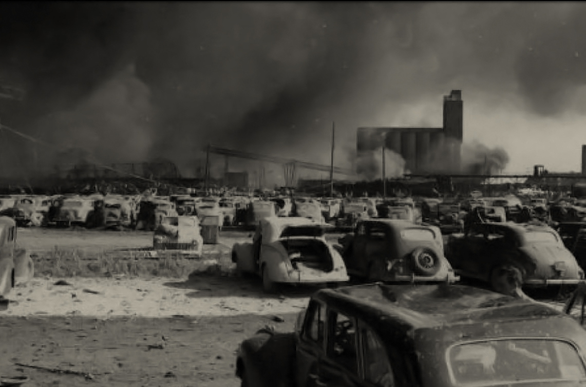 Cars demolished by the Texas City explosion, 1947