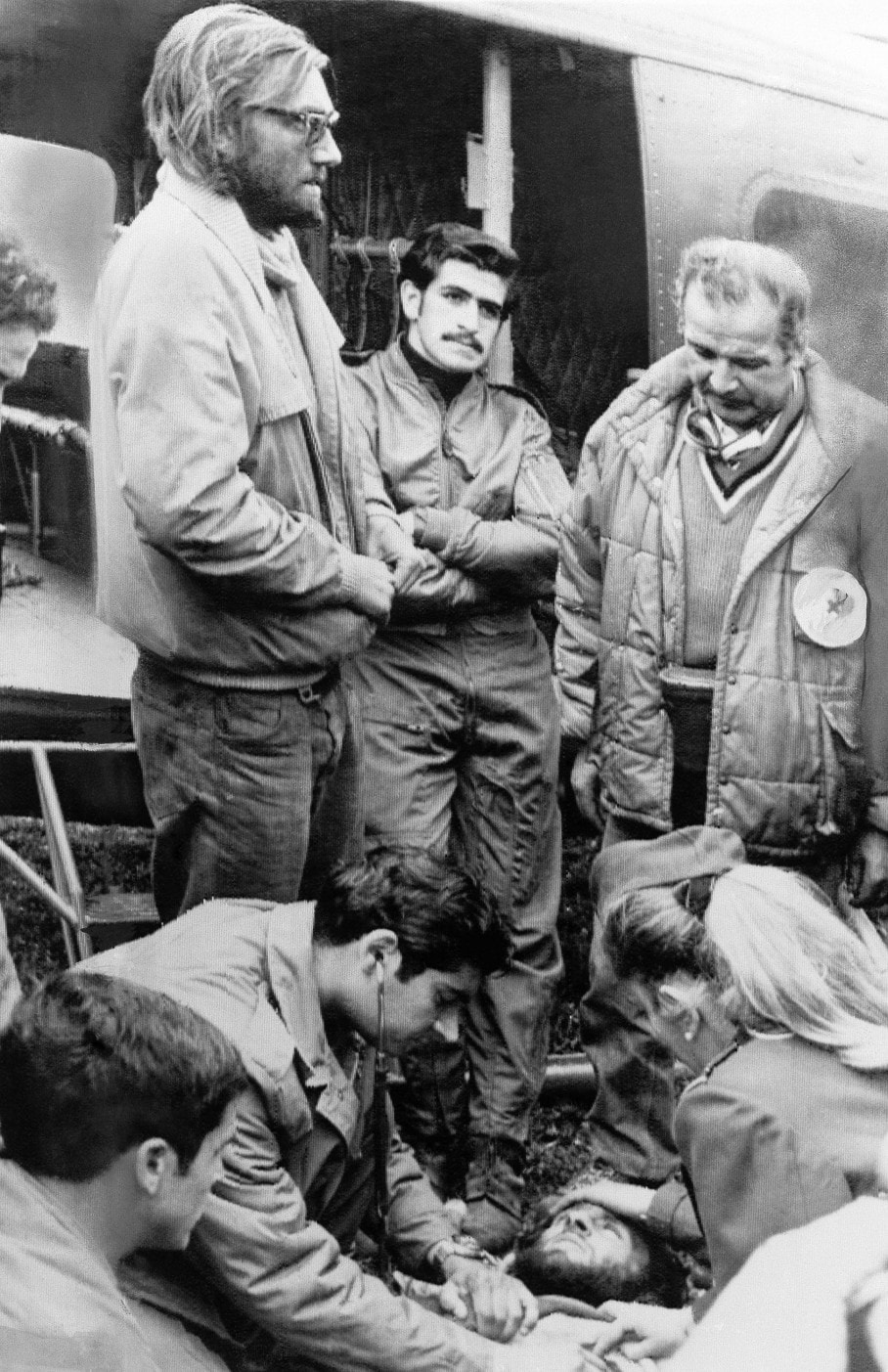 medics examine the survivors of the Uruguayan Air Force Flight 571
