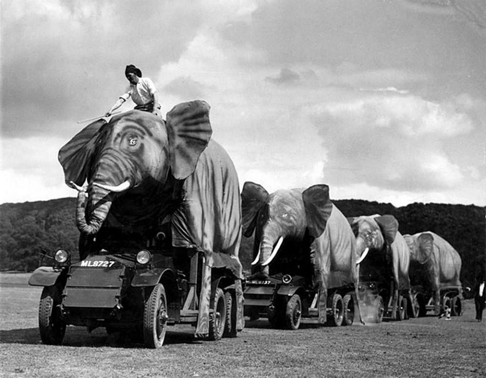Disguise of British military equipment as elephants, India, WWII