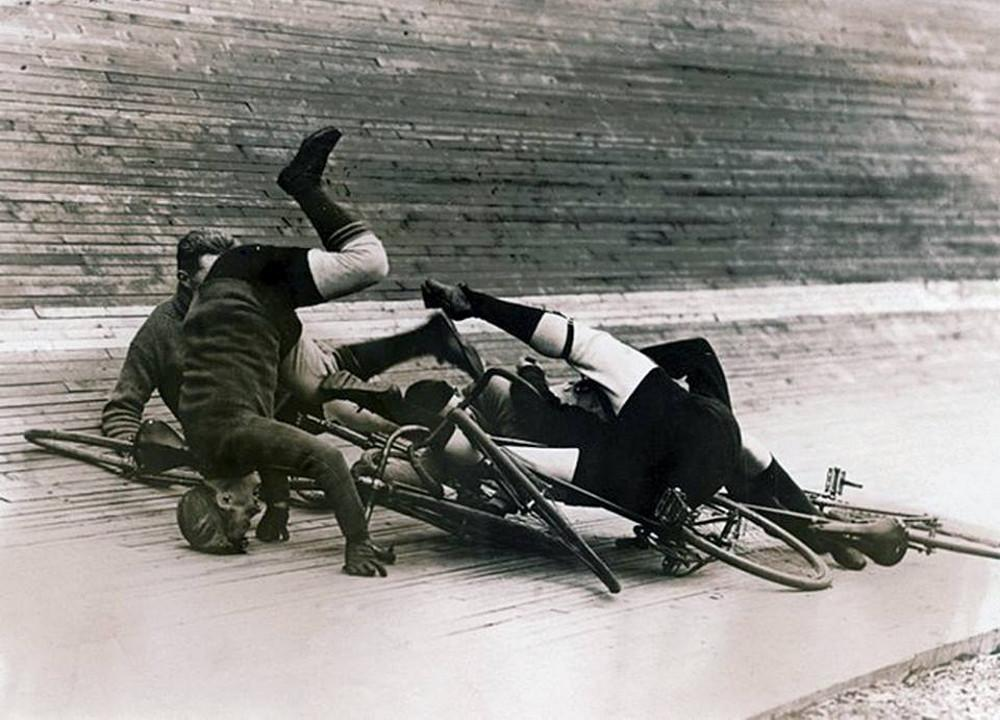 An accident on track during a 6-day bike race at the Madison Square Cycle Track. New York, 1913