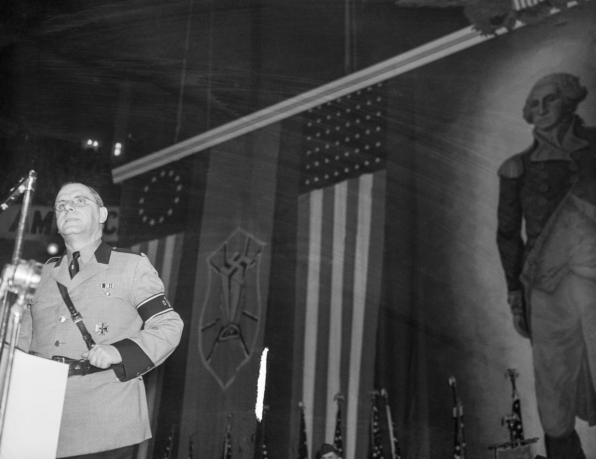 February 1939. Leader of the German-American Union Fritz Kuhn addresses the rally participants